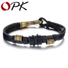 OPK Brand Fashion New 2016 Handmade Leather Wrap Bracelets Vintage Cheap Price Alloy Men Jewelry Good Gift For Man PH884(China)