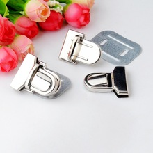 Free Shipping 2 Sets Silver Tone Trunk Lock Handbag Bag Accessories Purse Snap Clasps/ Closure Locks 33x29mm F0826