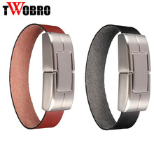 TWOBRO Leather Wristband Pendrive 8GB 4GB Bracelet USB Flash Drive 32GB 16GB Metal Pen Drive Flash Memory U Stick Gifts(China)
