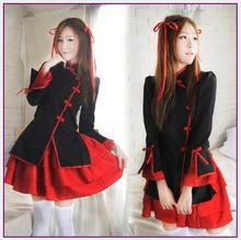 Sexy Chinese style Maid Costume Sweet Gothic Lolita Dress Anime Cosplay Sissy Maid Uniform Plus Size Halloween Costumes For Wome(China)