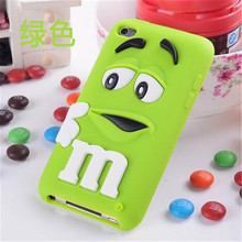 Cute 3D Cartoon M&MS Chocolate Bean Soft Silicone Case Skin Cover For Apple ipod touch 4 4g 4th Cases