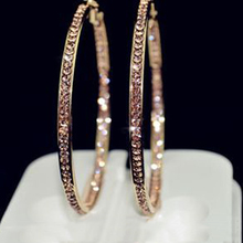 2016 TOP popular earrings With rhinestone circle earrings Simple earrings big circle gold color hoop earrings for women E005(China)