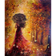 Beautiful Women Autumn Landscape DIY Painting By Numbers Kits Coloring Paint By Numbers Modern Wall Art Picture Gift(China)