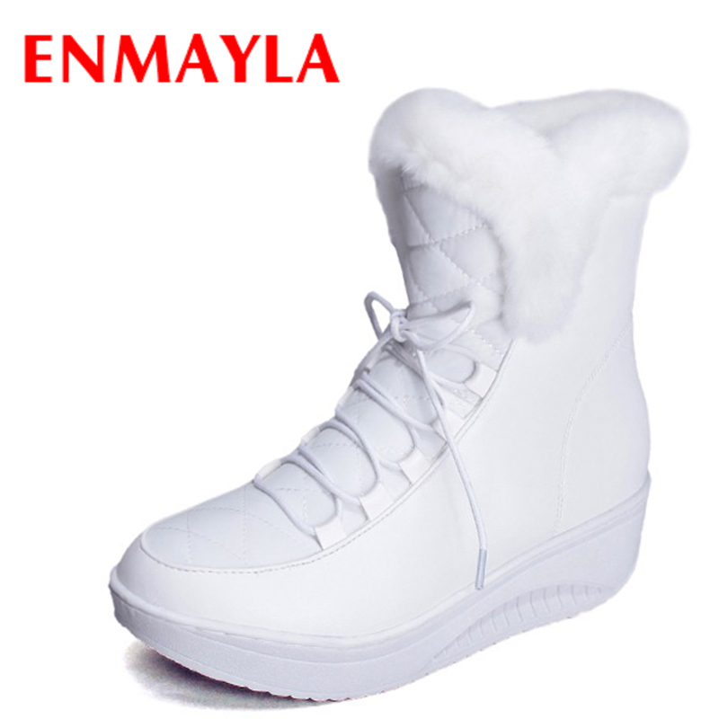 ENMAYLA 2017 Winter Shoes Woman White Black Fats Warm Fur Snow Boots Women Lace-up Ladies Shoes Women  Ankle Boots Szie 35 43<br>