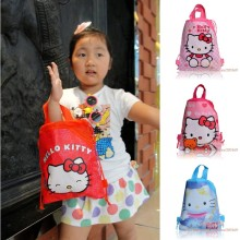 1PCS Hello Kitty Children Drawstring Backpacks School Shopping Bags 29*22CM Non Woven Fabrics Kids Birthday Party Best Gift