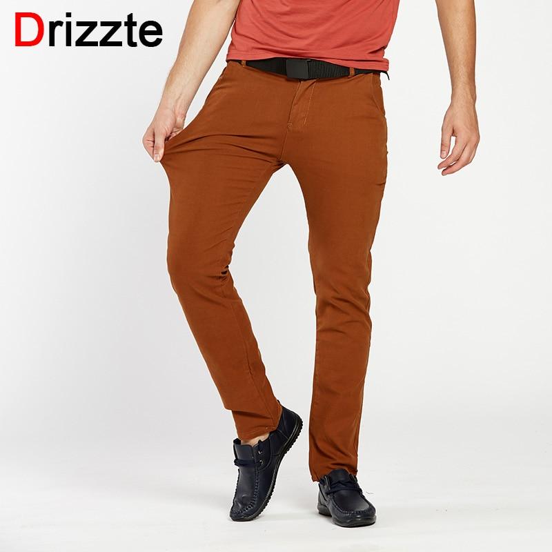 Drizzte Mens 4 Color Slim Chino Soft Denim Stretch Jeans Pants Dress Trouser brown black coffee orange Size 32 33 34 36 38Îäåæäà è àêñåññóàðû<br><br>