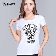 PyHen Suicide Squad T Shirt Women Short Sleeve Funny Joker Tattoo HAHA Print Tee Shirt For Female Harajuku Cool Tshirt Femme
