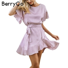 BerryGo Ruffle strap satin white dress women 2017 Autumn short sleeve sexy dresses Party o neck chic short dress female vestidos(China)