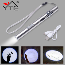 YTE USB Rechargeable LED Flashlight High-quality Powerful Mini LED Torch XML Waterproof Design Pen Hanging With Metal Clip