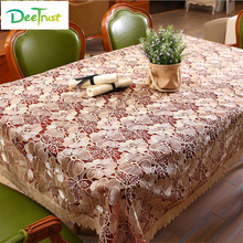 European Style Lace Table Cloth Embroidered Dining Table Cover Fabric Rustic Wedding Decoration Cover