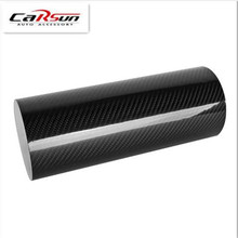 DIY 5D 50x200cm Car Sticker High Glossy Film Change Color Auto Exterior Carbon Fiber Accessories Interior Film Black