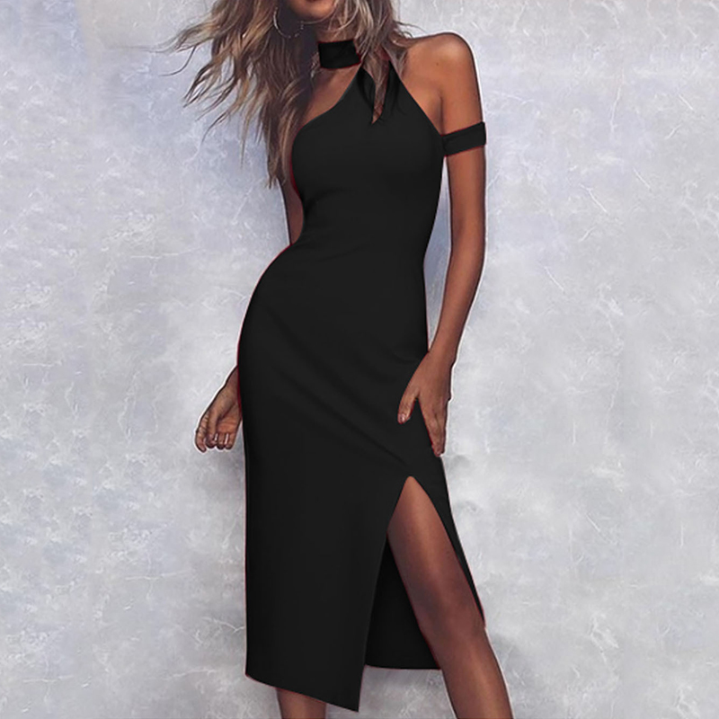 Women Bodycon Bandage Dress Women Vestidos 2019 Summer Sexy Elegant Black Red One Shoulder Choker Neck Midi Party Dresses