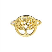 Beautiful Tree of Life Ring Gold Color Hollow Fashion Unique Design Classic Jewelry Lucky Wisdom Tree Rings For Women Men(China)