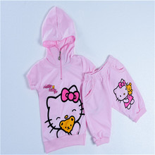 185# free shipment Hello Kitty prnted summer suit  hooded clothing