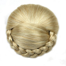 Soloowigs High Temperature Fiber Pure Color Women Braided Chignon Synthetic Hair Brown/Black/ Blonde Updos