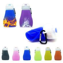 450ml Eco-Friendly Silicone Travel Sport Flexible Collapsible Water Bottles Foldable Drinkware 6color outdoor Leak-proof kettle3