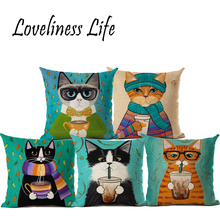 "Square 18"" Cat Cushion Covers 3D Printed Sofa Throw Pillow Covers For Coffee Bar Car Seat Decor Cotton Customized Drop Shipping(China)"