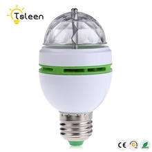 TSLEEN Led Mini Crystal Auto Rotating Colors Changing Light Bulb Party DJ E27 3W RGB Bulb Socket Edison Screw