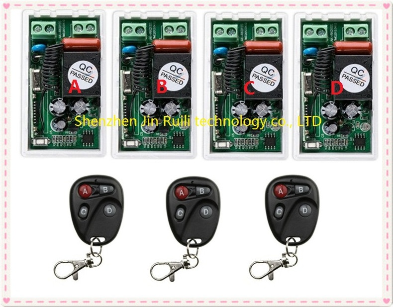 most simple wiring AC220V 1CH Radio Controller RF Wireless Relay Remote Control Switch 315 MHZ 433 MHZ 3Transmitter +4 Receiver<br><br>Aliexpress
