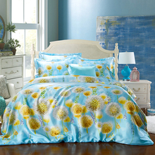 Dandelion Silk Satin bedding sets Luxury RUSSIA/USA SIZE silver Chinese duvet cover Flowers checked Stripes butterflies