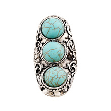 Women Retro 3 Round Turquoise anel rings for women and men party gift jewelry christmas unisex anillos anelli