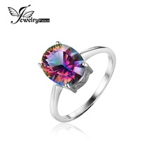 JewelryPalace 2.5ct Genuine Rainbow Fire Mystic Topaz Concave Oval Cut Ring For Women Solid 925 Sterling Silver Set