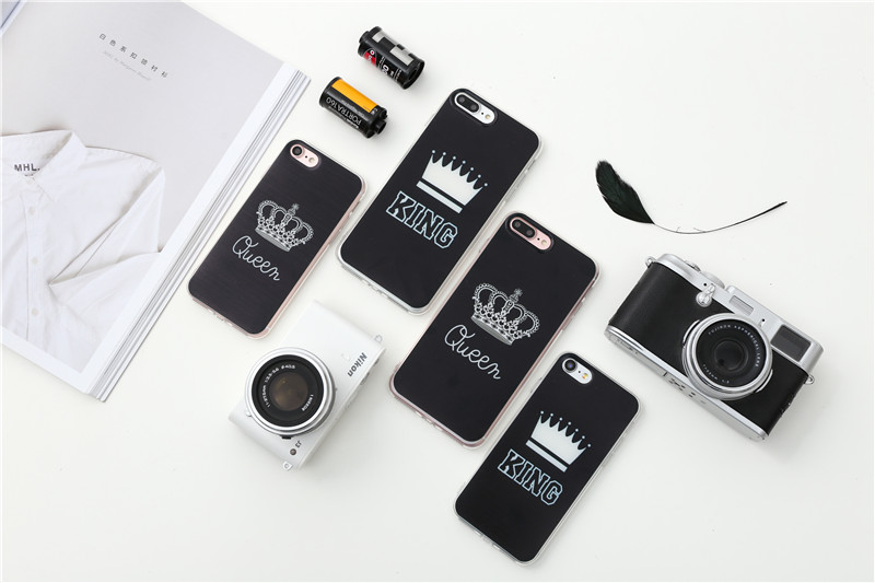 Valentine KING Queen Case for iPhone 6 Case for iPhone 5s 5 Cover Clear Silicone TPU Soft Phone Case for iPhone 8 7 6s Plus Cape 10