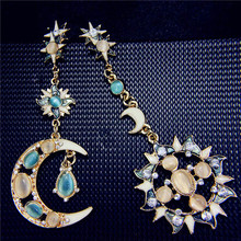 H:HYDE Statement Drops Stars Gem Bohemian Sun Moon Earrings Pink Blue Natural Opal Dangle Jewelry For Women Wholesale brincos(China)