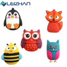 LEIZHAN Cute Animal USB Flash Drive 8GB Fox&bee&Owl&Penguin 4GB Pen Drive USB 2.0 Computer Memory Stick 16GB Kid U Disk 32GB 64g