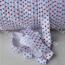 New print!!! 4th of July!! blue and red dots printed fold over elastic 50 yards per color per lot,OEM services, free shiping(China)