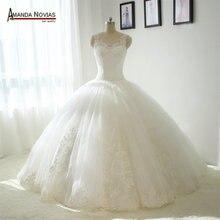 Выпало Талия Кружева Аппликации Пышная Юбка Свадебное Платье Новый 2017(China)