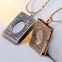 YYW Fashion Locket Necklace Factory Price Book Gold-color photo locket ball chain Approx 17 Inch Strand(China)