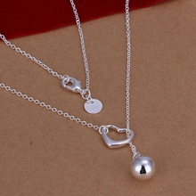Silver plated exquisite noble luxury gorgeous fashion women lady charming loving drop shot necklace Silver jewelry N164(China)