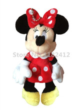 Mini Minnie Plush Toy Red Stuffed Animals Cute Pendant Cartoon Keychains Key Chain Girls Toys for Children Gifts