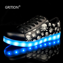 GRIRION 7 Colors in 1 Shining LED Shoes Skull LED Light Up Shoes for Women Girls Adults Colorful Luminous Shoes Zapatos Mujer