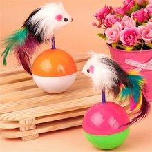 Kitten Durable Chewing Balls Lightweight Tumbler Plastic Ball Feather Nice Mous Toy For Cat High Quality