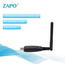 ZAPO 1200Mbps WIFI 2.4GHz & 5.8GHz Intelligence Dual Band AC Wireless Network Adapter with Bluetooth 4.1 USB 3.0(China)