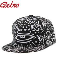 Geebro Hip-Hop Rock Style Eye Cat Star Snapback Baseball Caps Black And White Graffiti Printed Brand Hat for Women Men JS074A