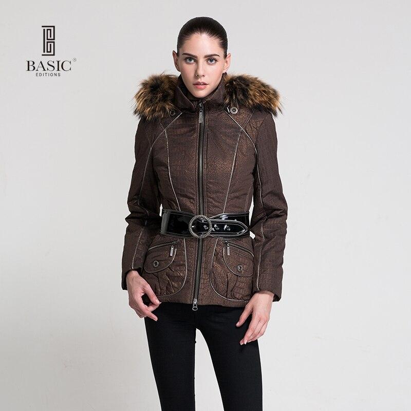 BASIC EDITIONS Autumn Winter New Arrival Women Clothing Female Coat Hooded Raccoon Fur Collar Short Cotton Jacket Z08052Îäåæäà è àêñåññóàðû<br><br>