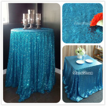 "108"" Round Wedding Tablecloth Sparkly Sequin Glamorous Tablecloth Aqua Blue Wedding Cake Table/ Event/ Party/Banquet Decoration"