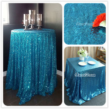 "108"" Round Wedding Tablecloth Sparkly Sequin Glamorous Tablecloth Aqua Blue Wedding Cake Table/ Event/ Party/Banquet Decoration(China)"