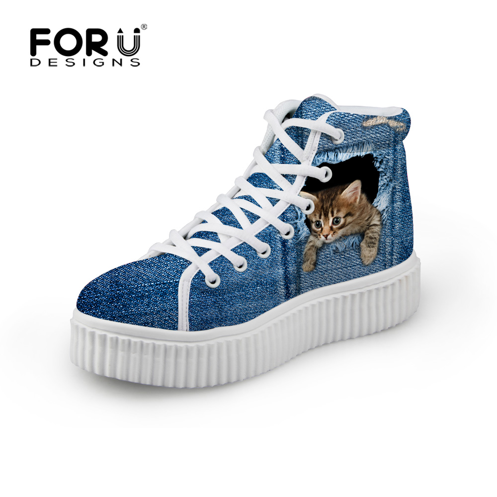 FORUDESIGNS Stylish Womens High Top Platform Shoes,Cute Pet Cat Blue Denim Printed Shoes for Ladies,Casual Lace-up Shoes Flats<br><br>Aliexpress