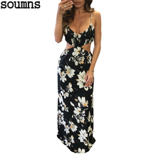 Soumns Sexy Veck Floral Print Long Dress Boho Casual Beach Dress Classic Style Women's Fashion Backless Wear S3159(China)