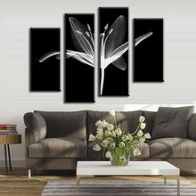 4 Pcs/Set Combined Modern Wall Paintings Abstract Canvas Wall Art Picture White Abstract Floral In The Black Artist Canvas Print(China)