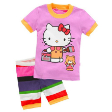 2016 Hello Kitty Cartoon Kids Pajamas Girls Outfits Children Clothing Baby Pijamas Sleepwear Summer Nightwear Girls Clothes Sets