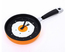1 piece 8 color choose new Creative Omelette Fry Pan Kitchen Fried Egg Design Wall Quartz Clock Decor Fashion wall clock