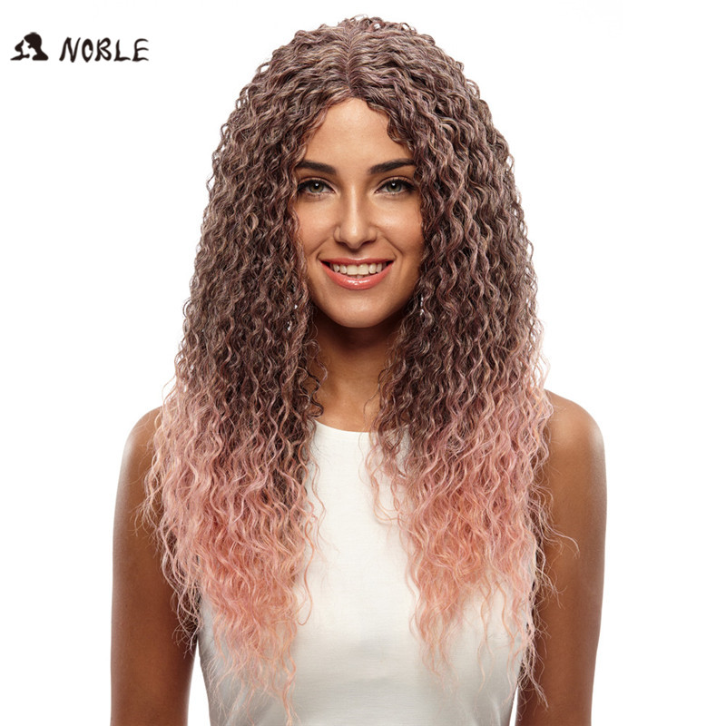 Noble Afro African Americans Kinky Curly  Synthetic Wig  J Part Lace Wig Heat Resistant Pink Ombre Hair Wig for Black Women <br><br>Aliexpress
