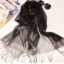 Fashion Brand High Quality 200cmx90cm Silk Rectangle Scarf Women 2016 Big Size Black Silk Scarves For Women