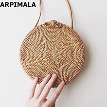 ARPIMALA 2017 Small Circle Straw Bags for Women Handmade Beach bag Summer Holiday Rattan Handbags Butterfly Women Messenger Bag