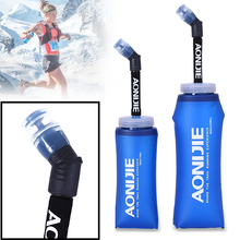 Dark Blue Foldable TPU Outdoor Soft Flask Water Bag Sport Camping Hike Running Water Hydration Bottle Mouth Kettle 350ml 600ml